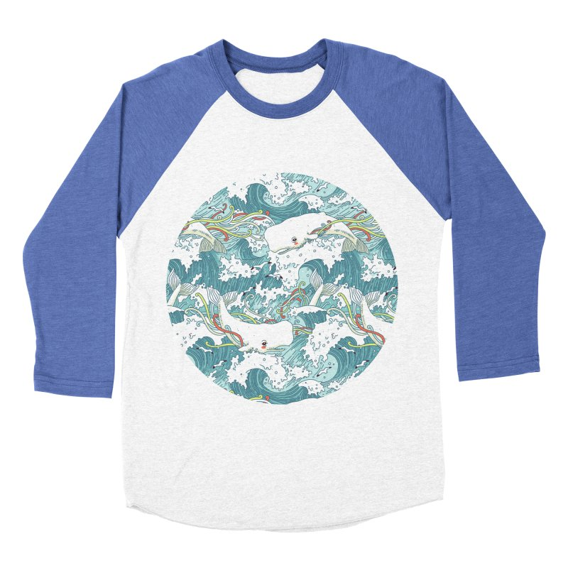 Whales and Waves Pattern Men's Baseball Triblend T-Shirt by Freeminds