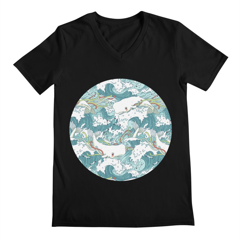 Whales and Waves Pattern Men's V-Neck by Freeminds's Artist Shop