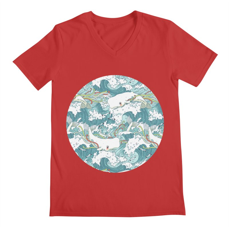 Whales and Waves Pattern Men's V-Neck by Freeminds