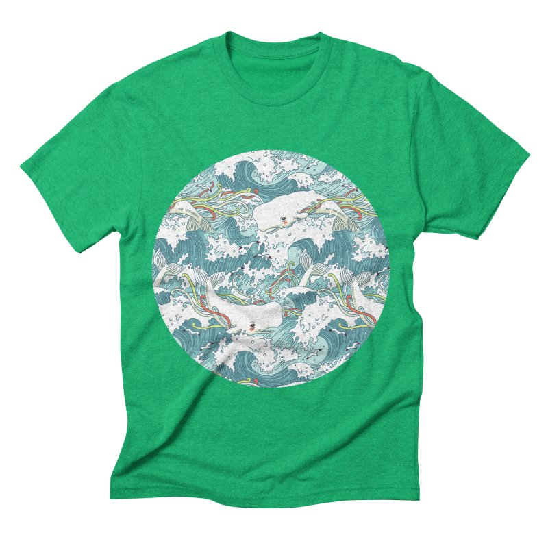 Whales and Waves Pattern Men's Triblend T-shirt by Freeminds