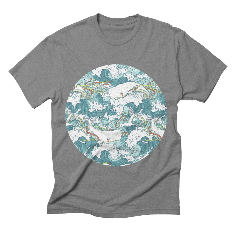 Whales and Waves Pattern Men's Triblend T-shirt by Freeminds's Artist Shop