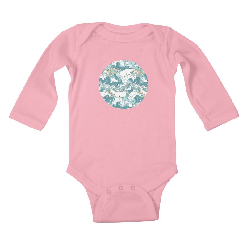 Whales and Waves Pattern Kids Baby Longsleeve Bodysuit by Freeminds