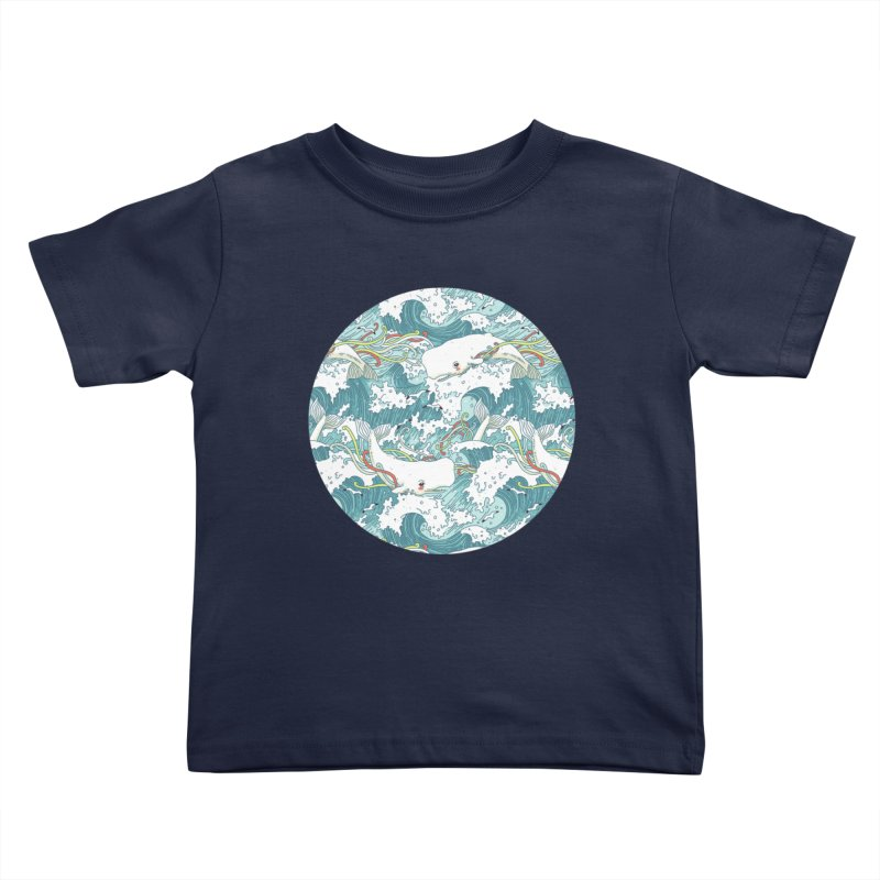 Whales and Waves Pattern Kids Toddler T-Shirt by Freeminds