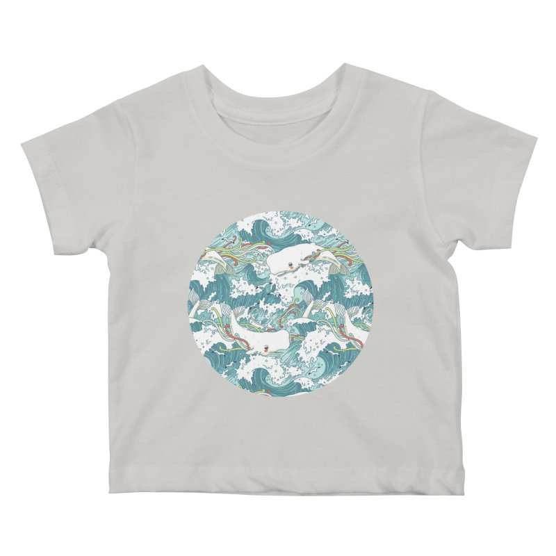 Whales and Waves Pattern Kids Baby T-Shirt by Freeminds's Artist Shop