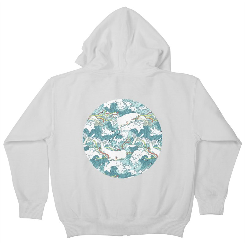 Whales and Waves Pattern Kids Zip-Up Hoody by Freeminds