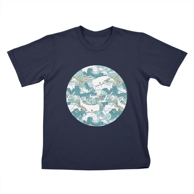 Whales and Waves Pattern Kids T-shirt by Freeminds's Artist Shop