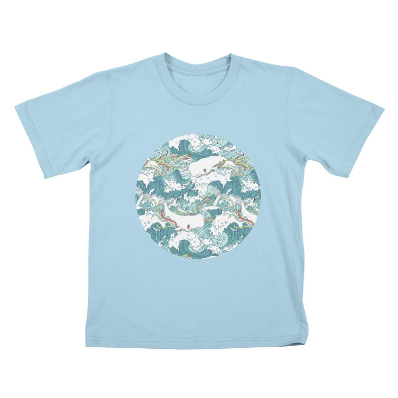Whales and Waves Pattern Kids T-Shirt by Freeminds