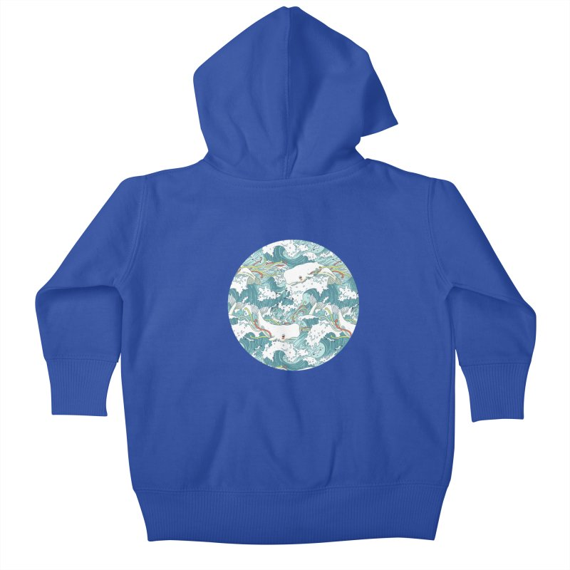 Whales and Waves Pattern Kids Baby Zip-Up Hoody by Freeminds