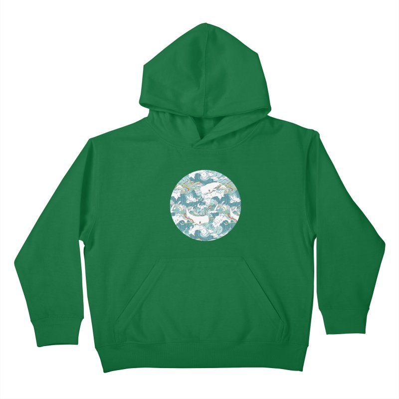 Whales and Waves Pattern Kids Pullover Hoody by Freeminds