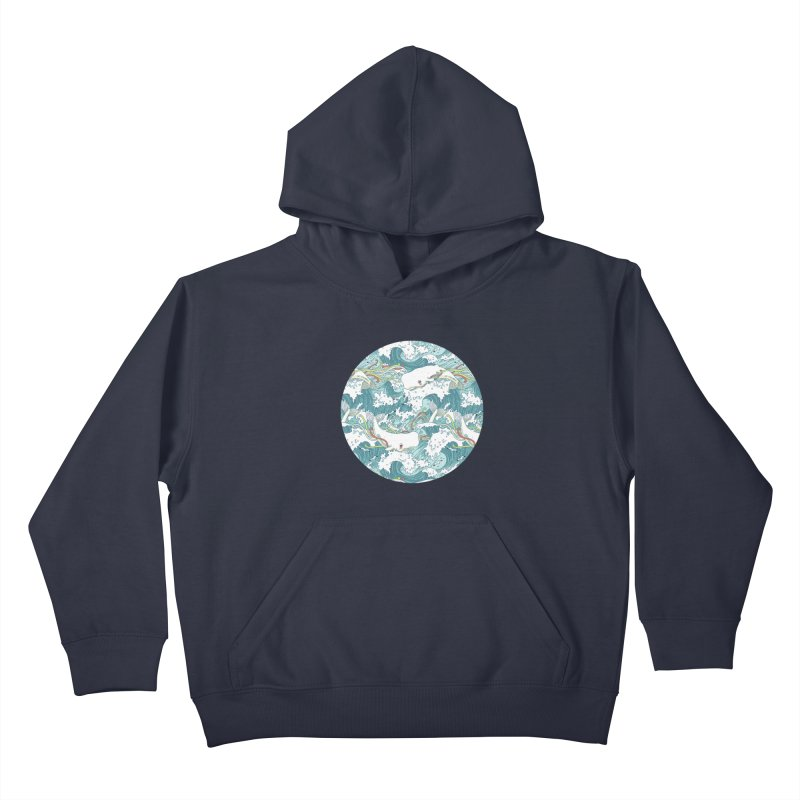 Whales and Waves Pattern Kids Pullover Hoody by Freeminds's Artist Shop