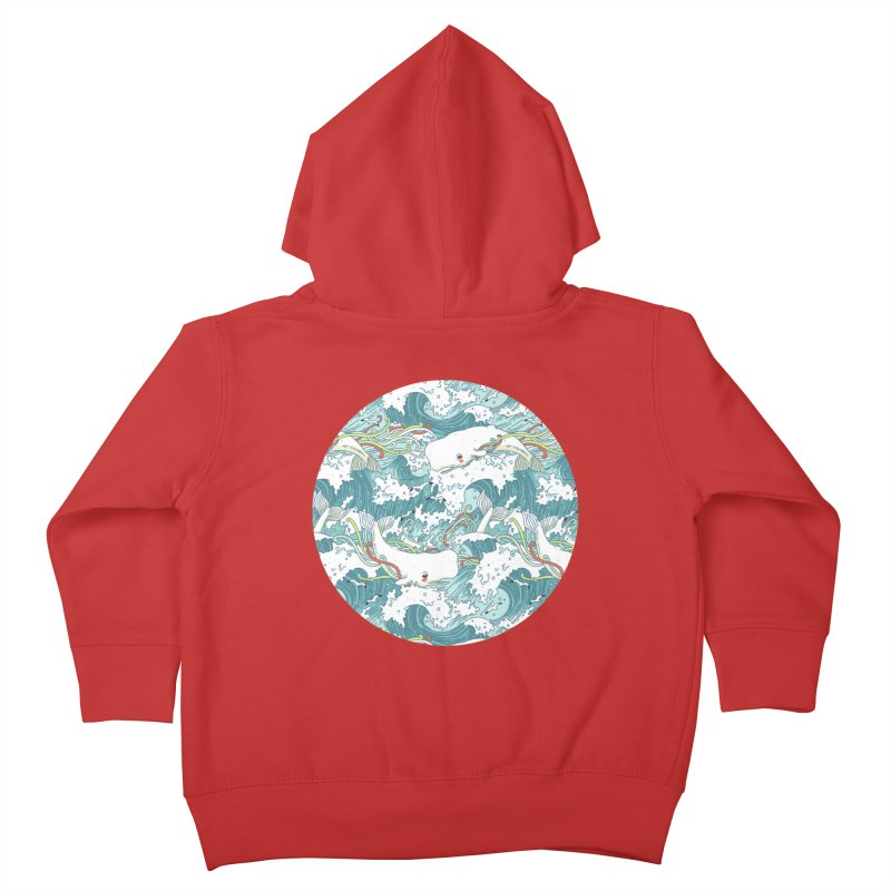 Whales and Waves Pattern Kids Toddler Zip-Up Hoody by Freeminds