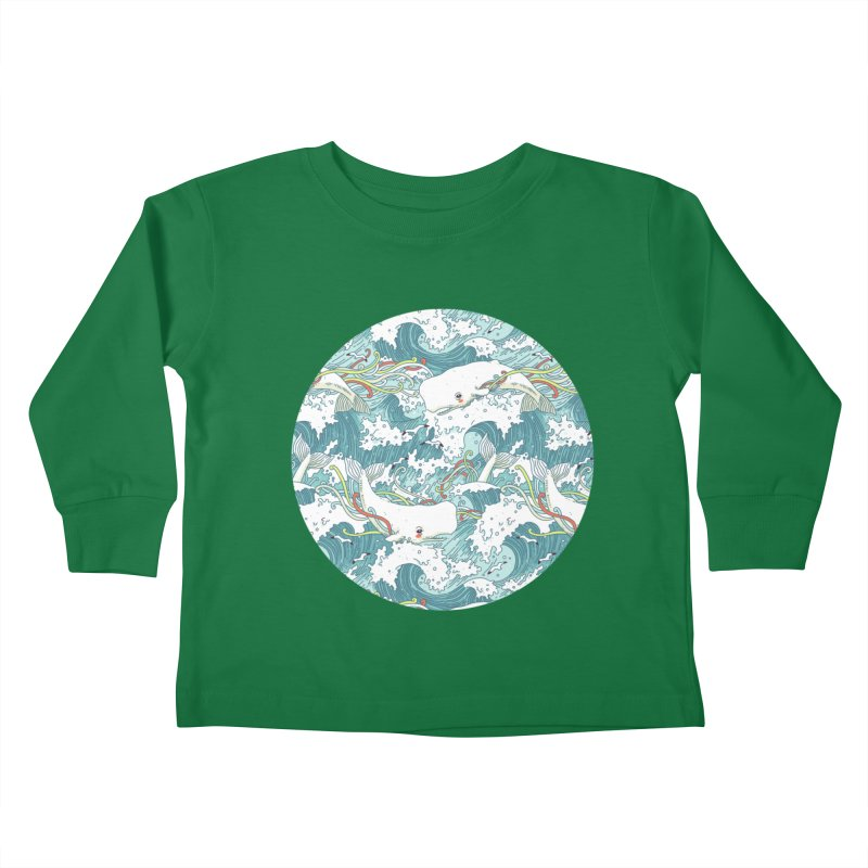 Whales and Waves Pattern Kids Toddler Longsleeve T-Shirt by Freeminds