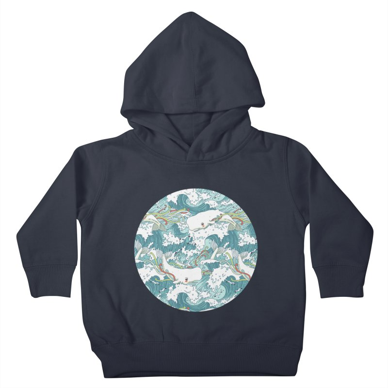 Whales and Waves Pattern Kids Toddler Pullover Hoody by Freeminds