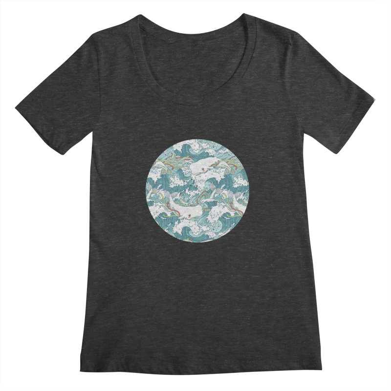Whales and Waves Pattern Women's Scoopneck by Freeminds's Artist Shop