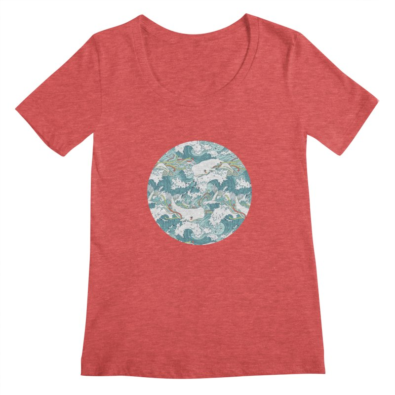 Whales and Waves Pattern Women's Scoopneck by Freeminds