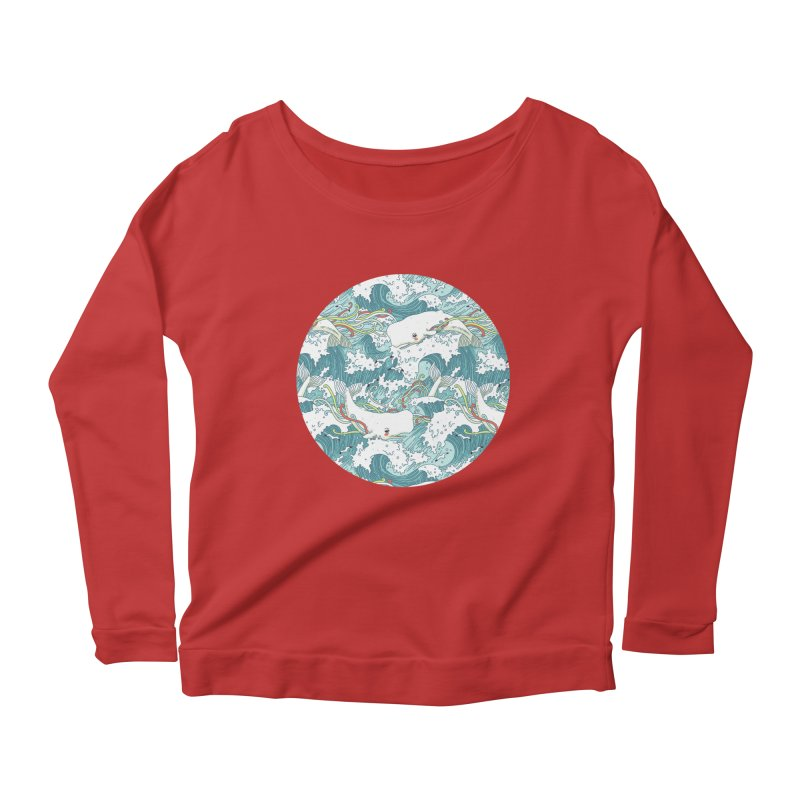 Whales and Waves Pattern Women's Longsleeve Scoopneck  by Freeminds