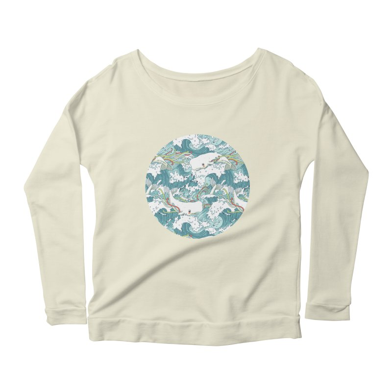 Whales and Waves Pattern Women's Longsleeve Scoopneck  by Freeminds's Artist Shop