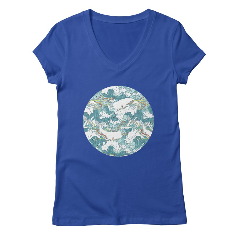Whales and Waves Pattern Women's V-Neck by Freeminds's Artist Shop