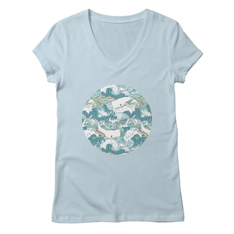 Whales and Waves Pattern Women's V-Neck by Freeminds