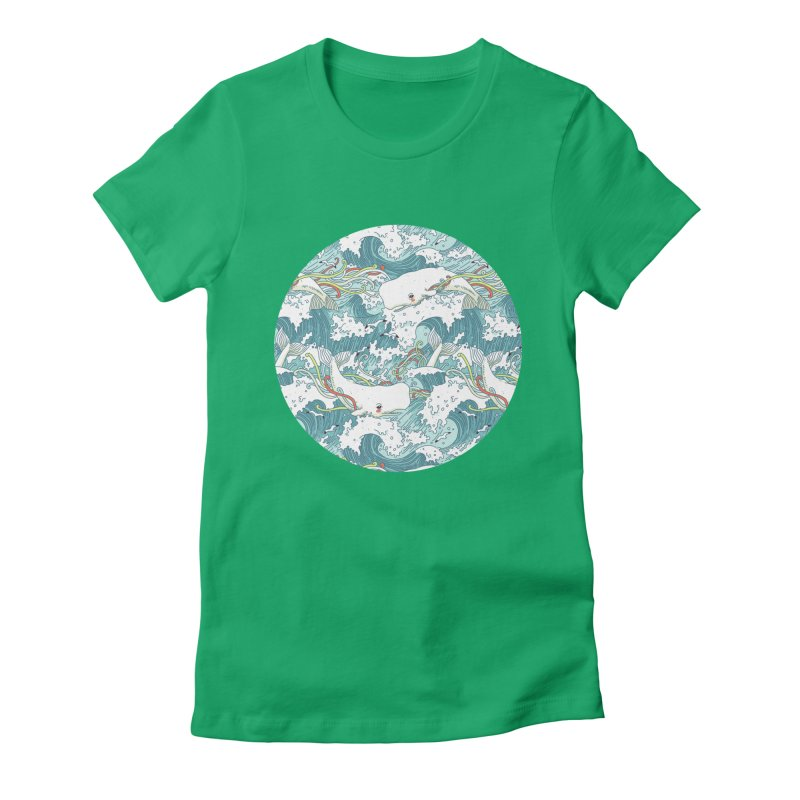 Whales and Waves Pattern Women's Fitted T-Shirt by Freeminds