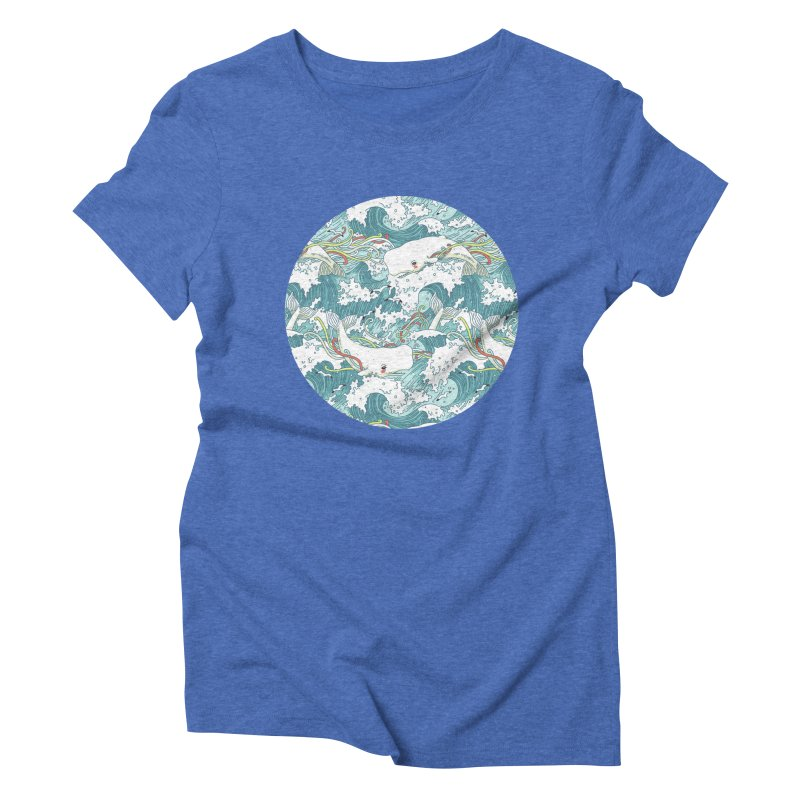 Whales and Waves Pattern Women's Triblend T-Shirt by Freeminds