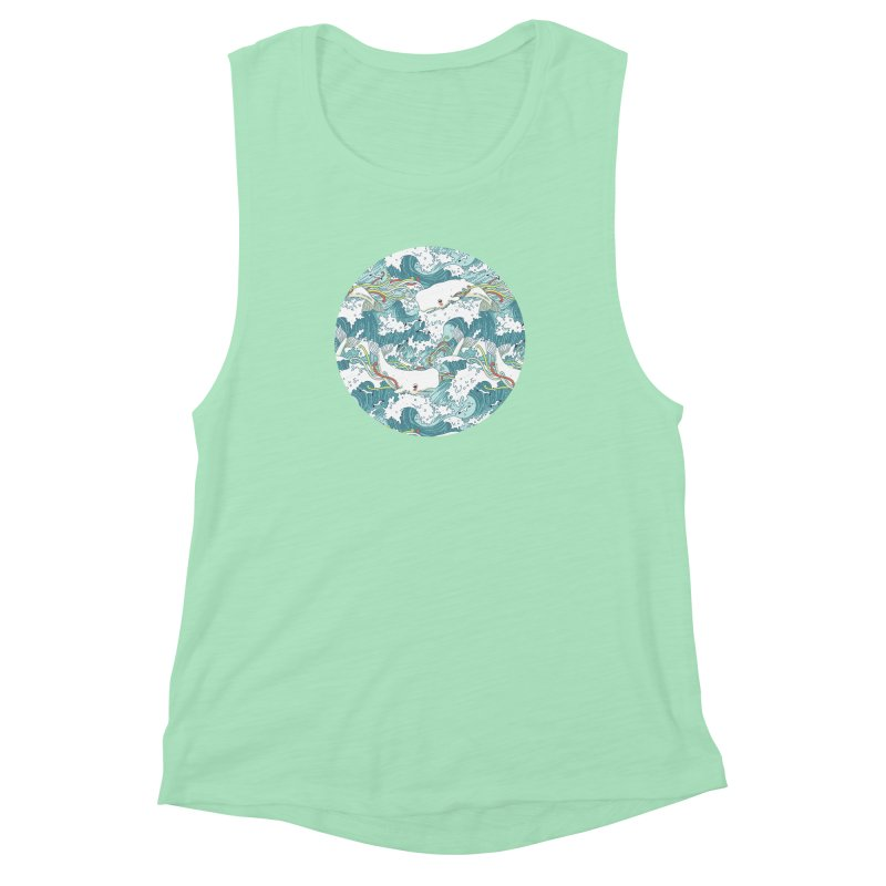 Whales and Waves Pattern Women's Muscle Tank by Freeminds