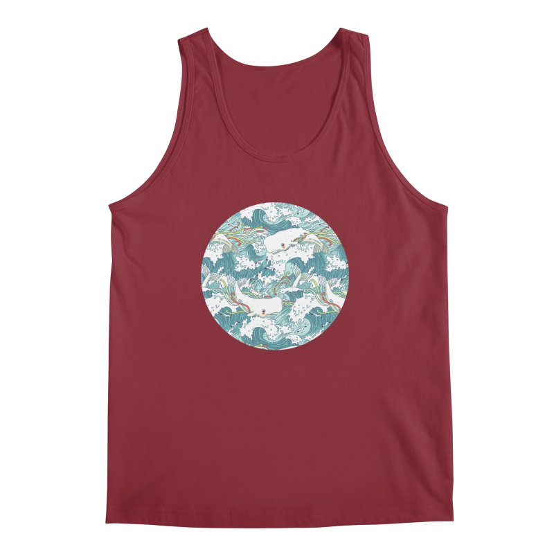 Whales and Waves Pattern Men's Tank by Freeminds