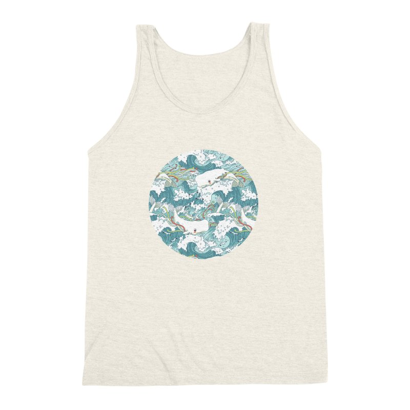 Whales and Waves Pattern Men's Triblend Tank by Freeminds