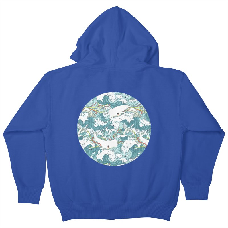 Whales and Waves Pattern Kids Zip-Up Hoody by Freeminds's Artist Shop