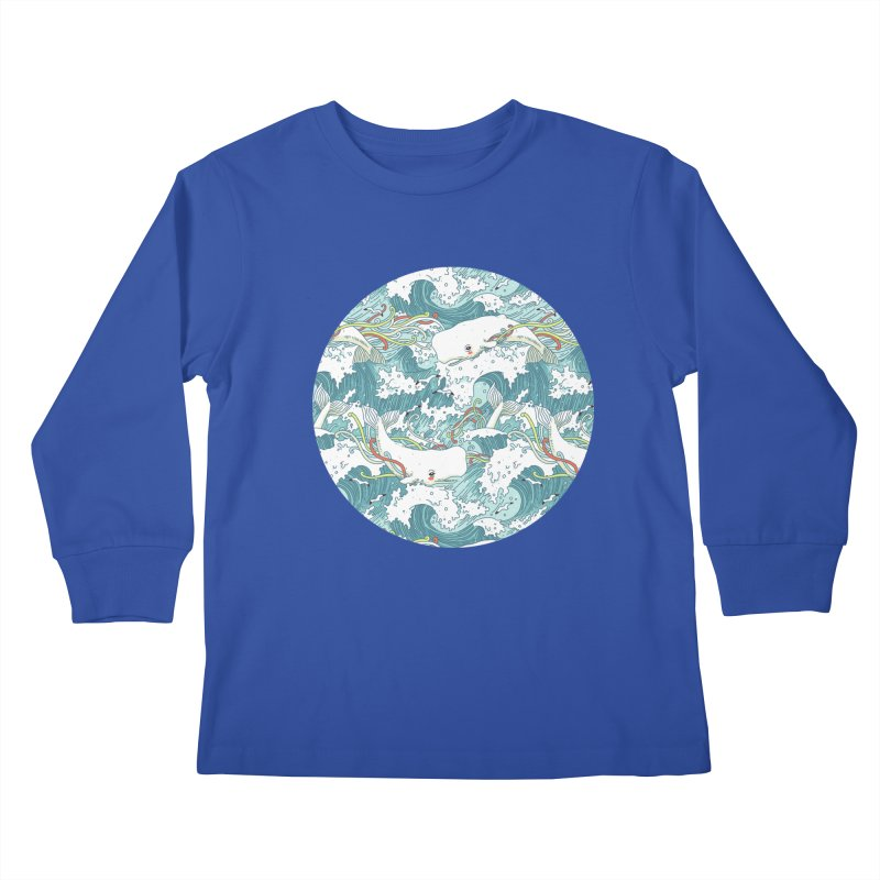 Whales and Waves Pattern Kids Longsleeve T-Shirt by Freeminds
