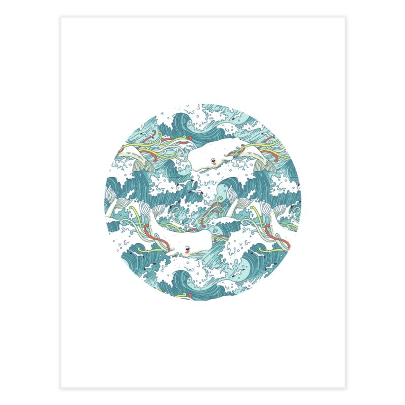 Whales and Waves Pattern Home Fine Art Print by Freeminds