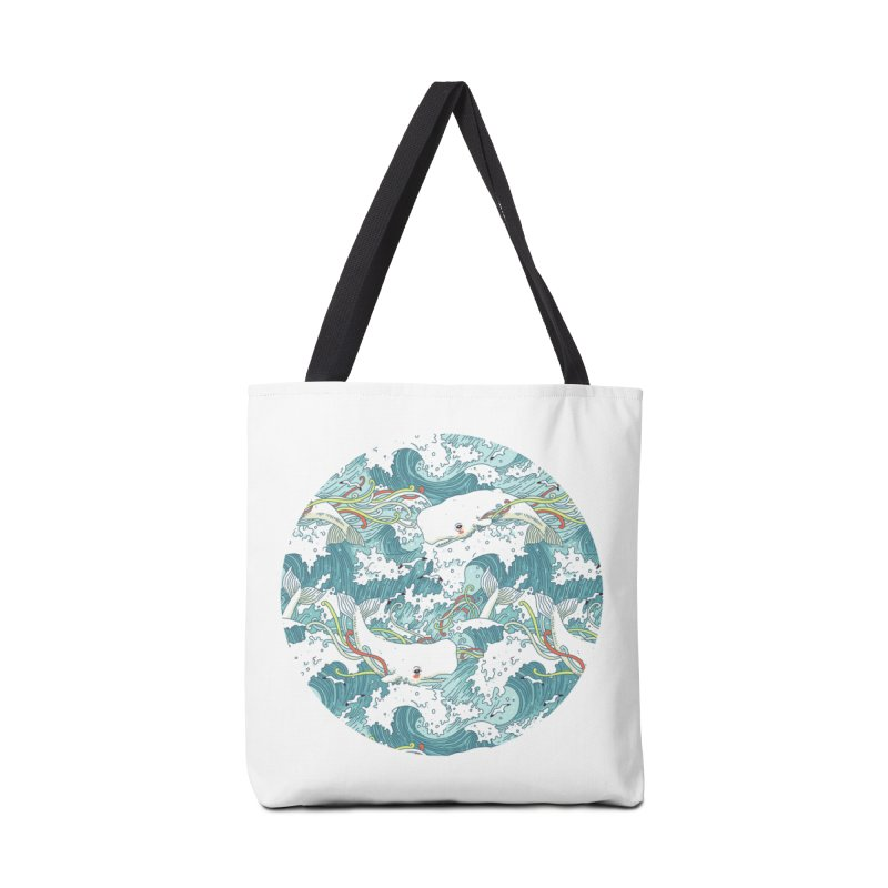 Whales and Waves Pattern Accessories Bag by Freeminds
