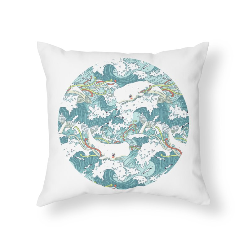 Whales and Waves Pattern Home Throw Pillow by Freeminds