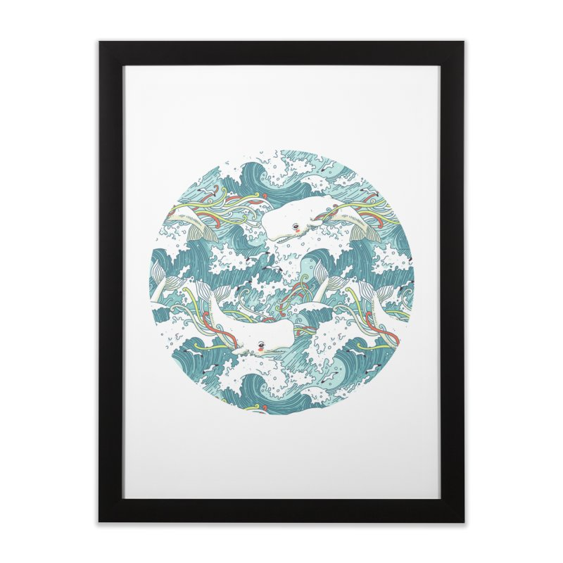 Whales and Waves Pattern Home Framed Fine Art Print by Freeminds