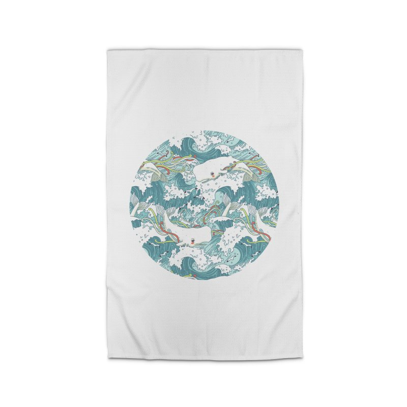 Whales and Waves Pattern Home Rug by Freeminds