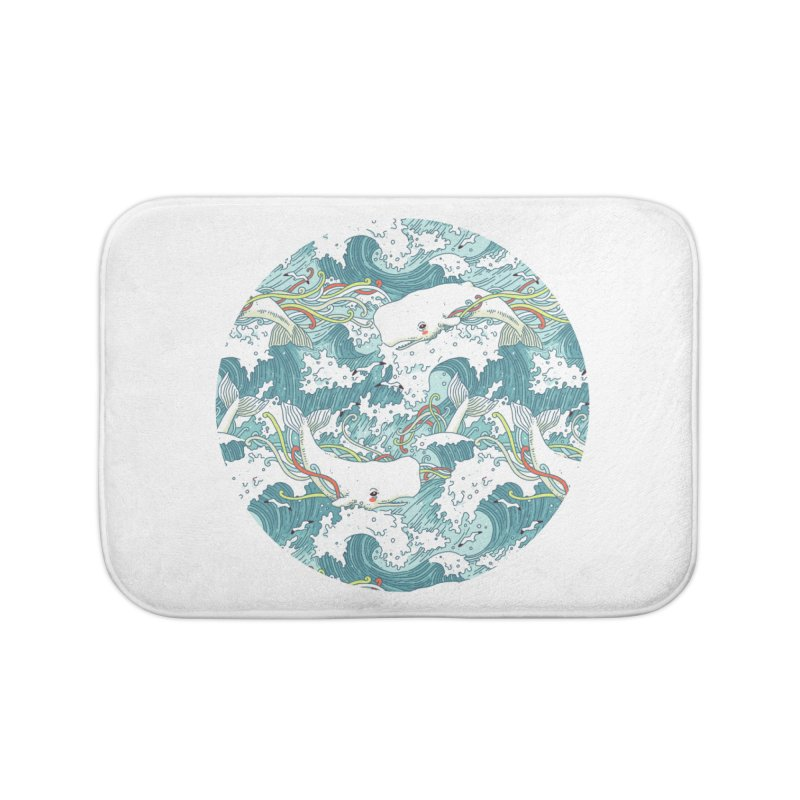 Whales and Waves Pattern Home Bath Mat by Freeminds
