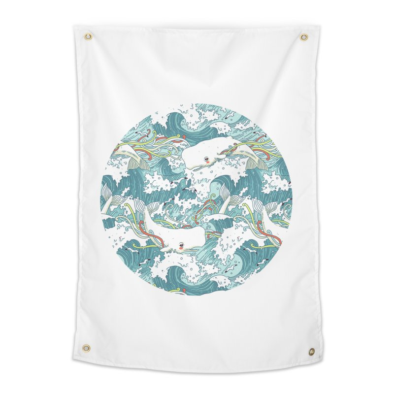Whales and Waves Pattern Home Tapestry by Freeminds