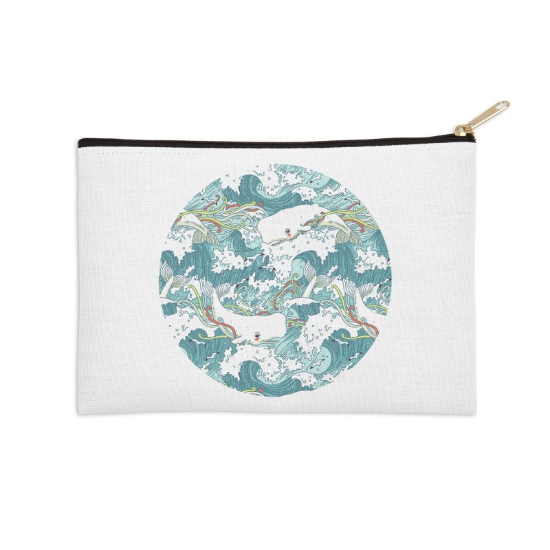 Whales and Waves Pattern Accessories Zip Pouch by Freeminds