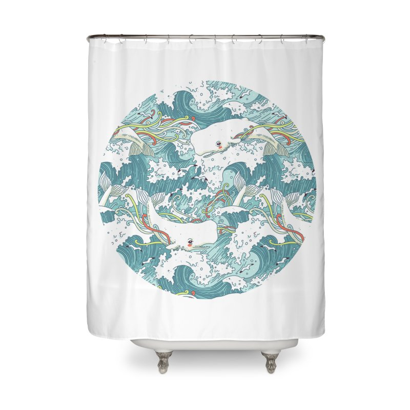 Whales and Waves Pattern Home Shower Curtain by Freeminds