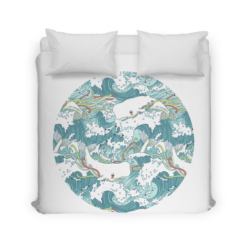 Whales and Waves Pattern Home Duvet by Freeminds