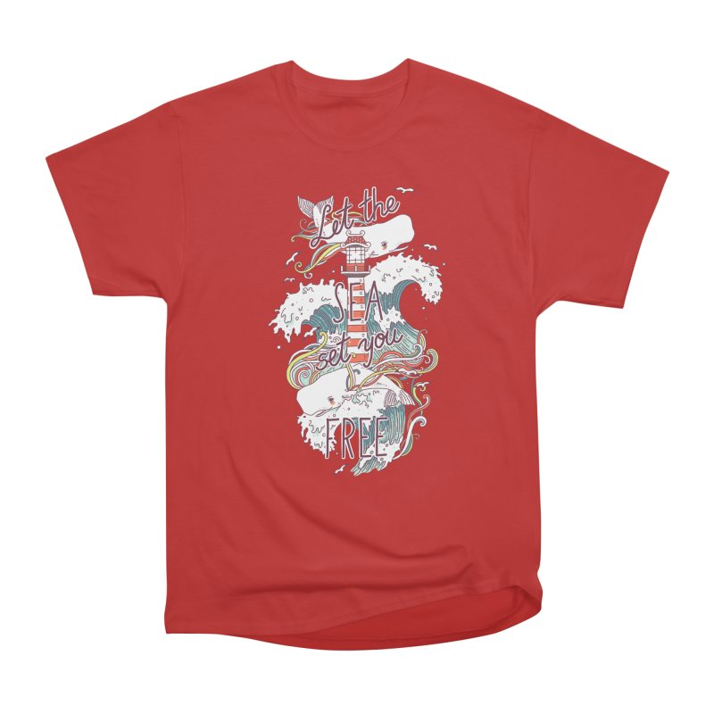 Whales and Waves Men's Heavyweight T-Shirt by Freeminds