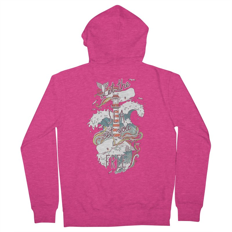 Whales and Waves Women's Zip-Up Hoody by Freeminds