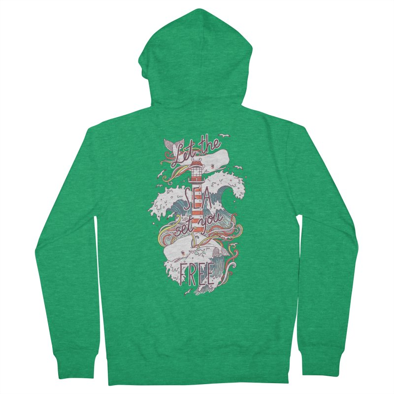 Whales and Waves Men's Zip-Up Hoody by Freeminds