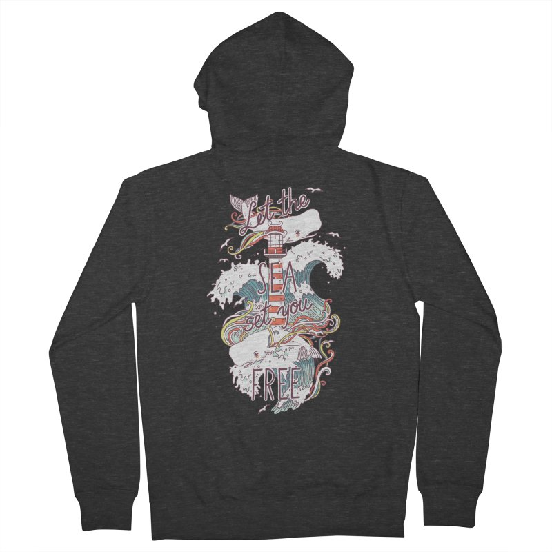 Whales and Waves Men's Zip-Up Hoody by Freeminds's Artist Shop