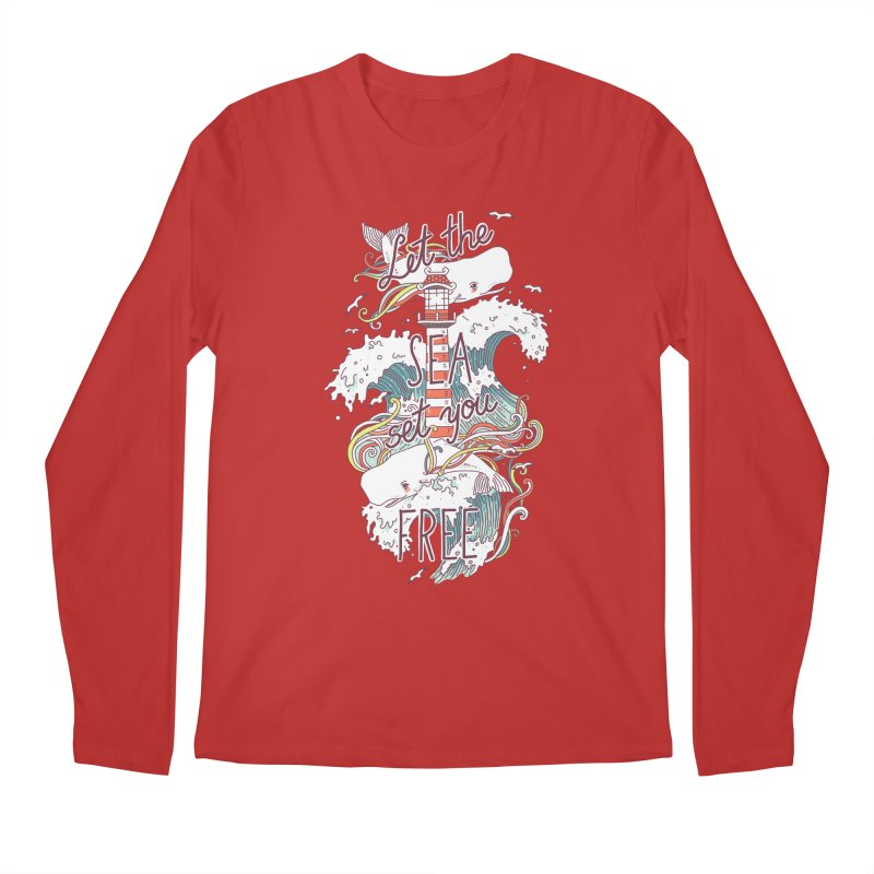 Whales and Waves Men's Longsleeve T-Shirt by Freeminds