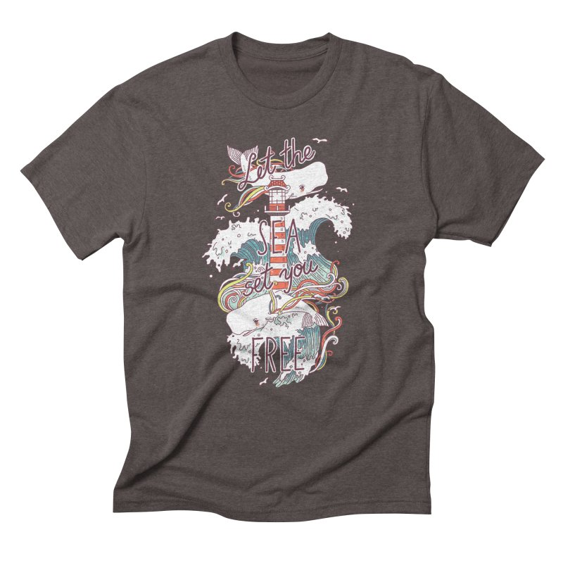 Whales and Waves Men's Triblend T-Shirt by Freeminds