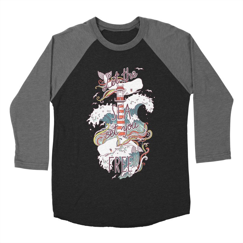 Whales and Waves Men's Baseball Triblend T-Shirt by Freeminds's Artist Shop