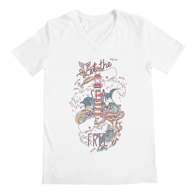 Whales and Waves Men's V-Neck by Freeminds