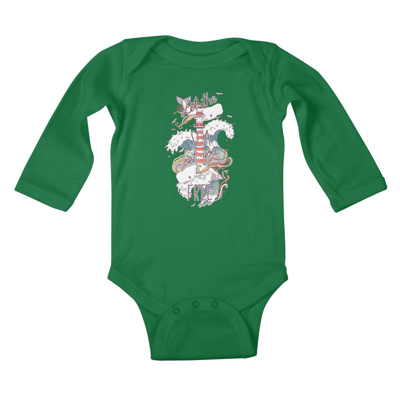 Whales and Waves Kids Baby Longsleeve Bodysuit by Freeminds's Artist Shop