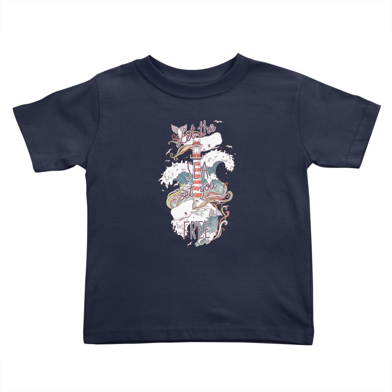 Whales and Waves Kids Toddler T-Shirt by Freeminds's Artist Shop